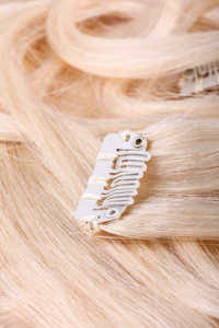 blond hair extension, clips